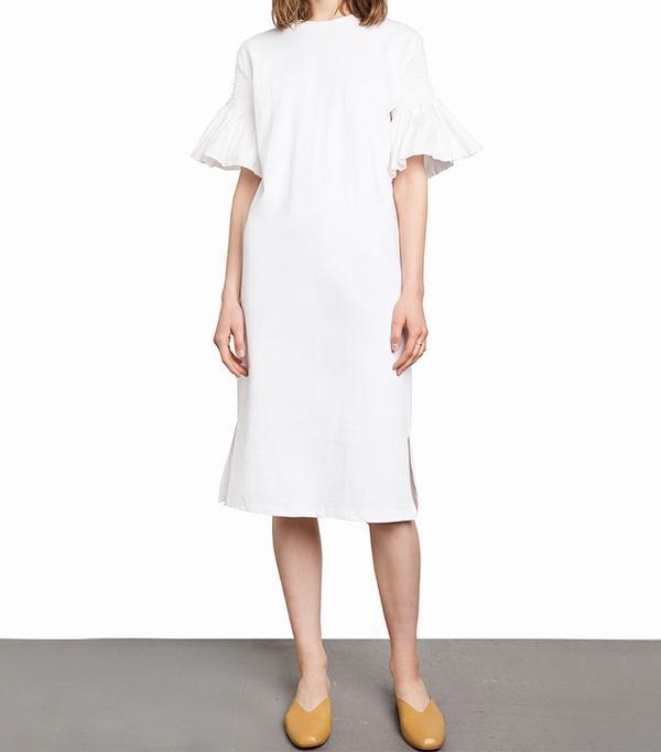 Best Summer Dresses for Work: Pixie Market White Smocked Rufled Sleeve Tee Dress