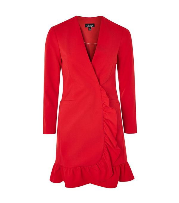 Frill Hem Blazer Dress