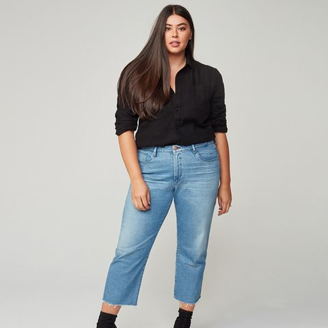 x Glamour Plus Size High Rise Channel Seam Straigh Crop Jeans