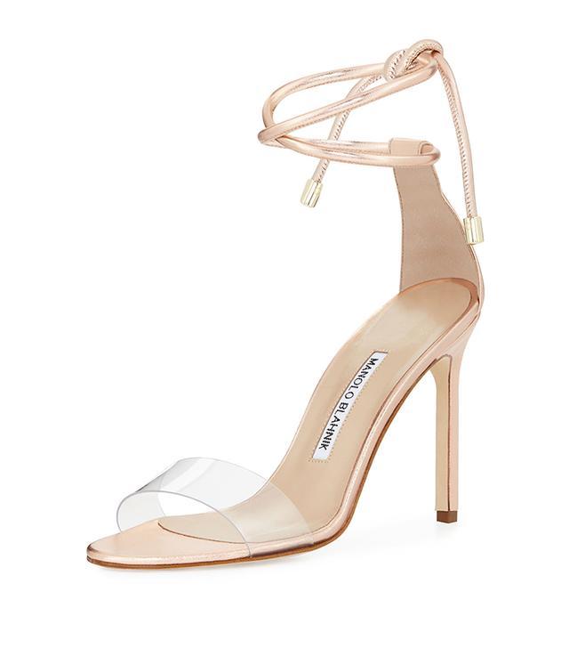 Estro Leather & PVC Ankle-Wrap Sandal