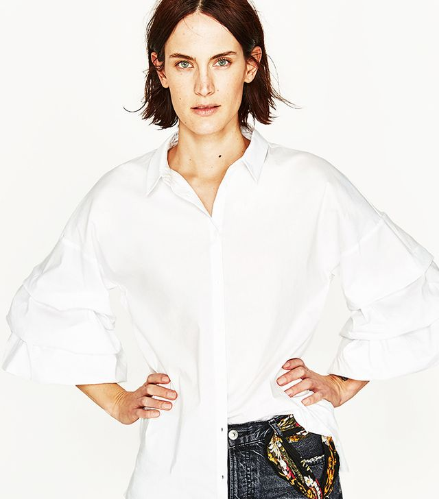 POPLIN SHIRT WITH PLEATED SLEEVES