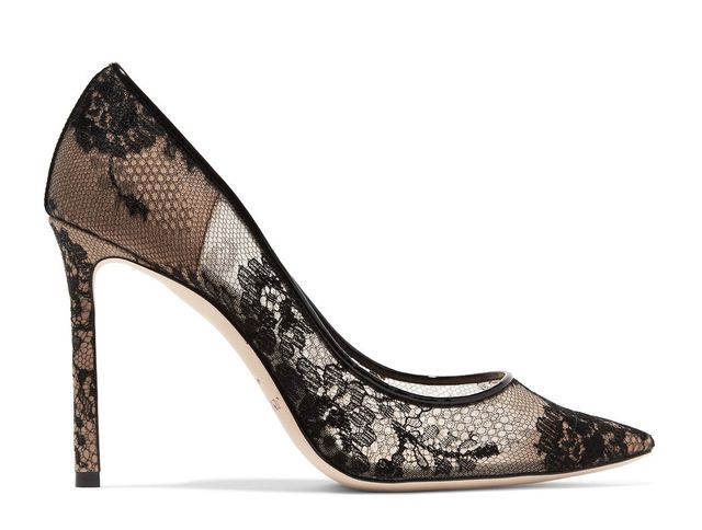 Romy Leather-trimmed Lace Pumps