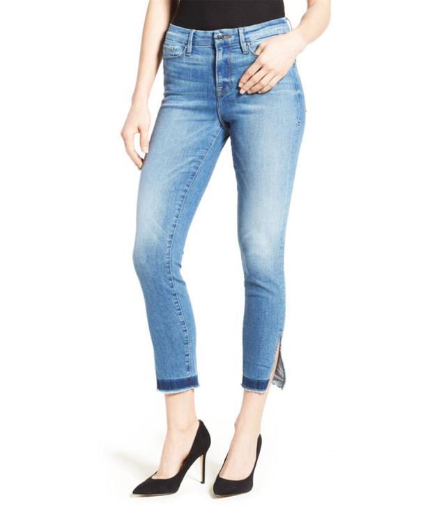 Good American High Rise Split Hem Crop Skinny Jeans
