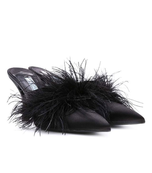 Feathered fashion pieces: Prada mules