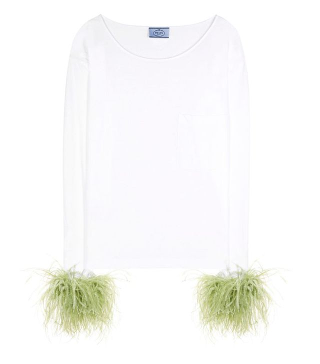 Feather fashion trend: Prada trimmed top