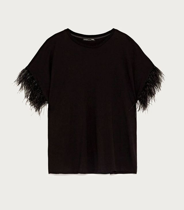 Zara T-Shirt With Feathers