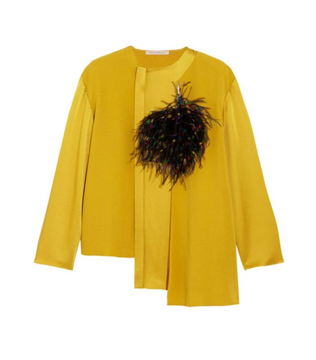 Feather fashion trend: Christopher Kane satin top