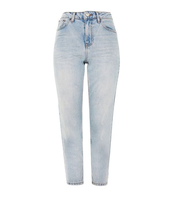 High-waisted straight leg jeans trend: Topshop Petite Bleach Denim Mom Jeans
