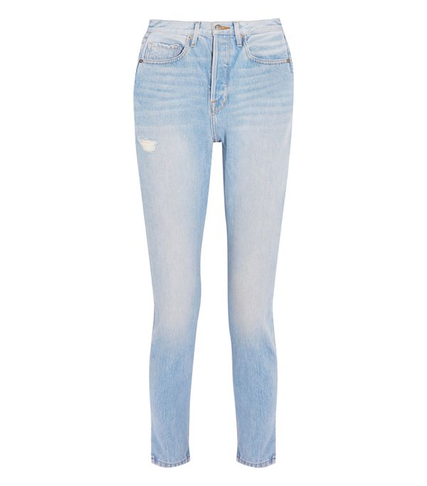 High-waisted straight leg jeans trend: Frame Le Original Skinny Distressed High-Rise Straight-Leg Jeans
