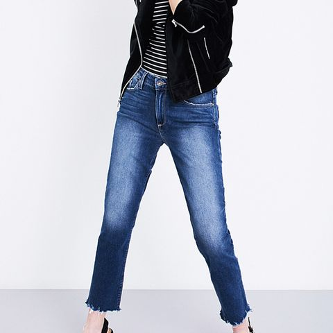 Jacqueline Frayed-Hem Straight Jeans