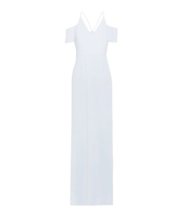 Halston Heritage Cold-Shoulder Crepe Gown
