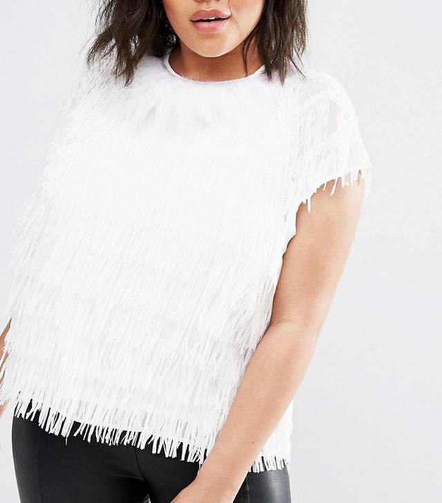 Elvi White Shredded Feather Top
