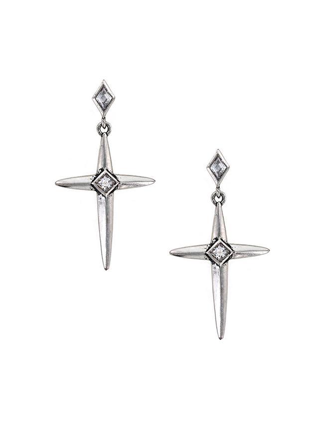 Nicole Miller Spike Cross Earrings