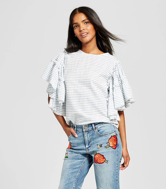 Who What Wear Ruffle Sleeve Blouse