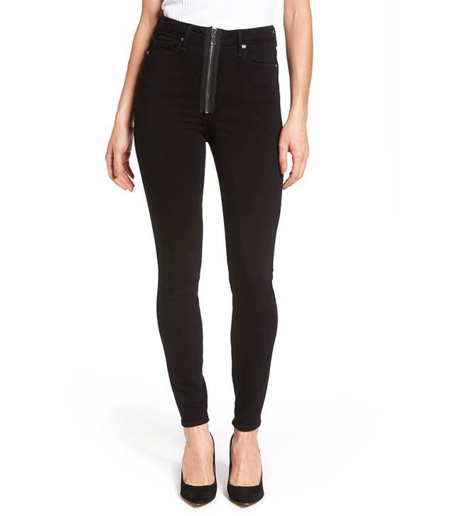 Women's Good American Good Waist Exposed Zip Skinny Jeans