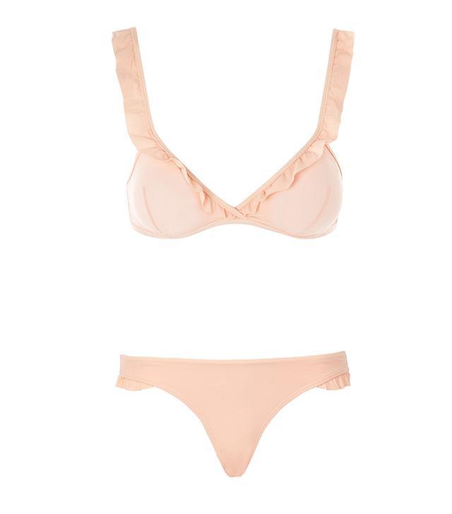 Textured Frill Crop Bikini Top