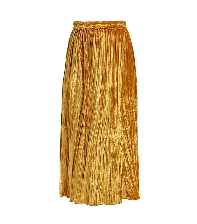 Gathered velvet wrap skirt