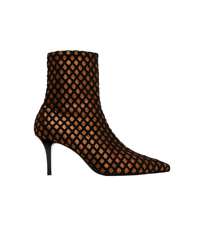 Zara High-Heel Mesh Ankle Boots