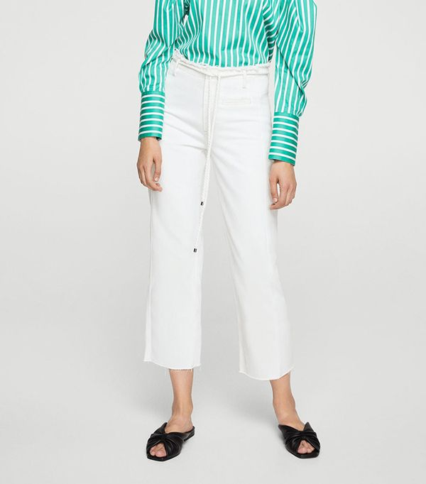 White straight jeans
