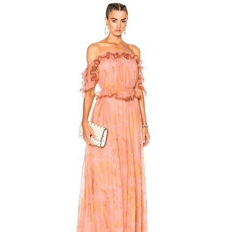 Off-the-Shoulder Ruffle Sleeve Gown
