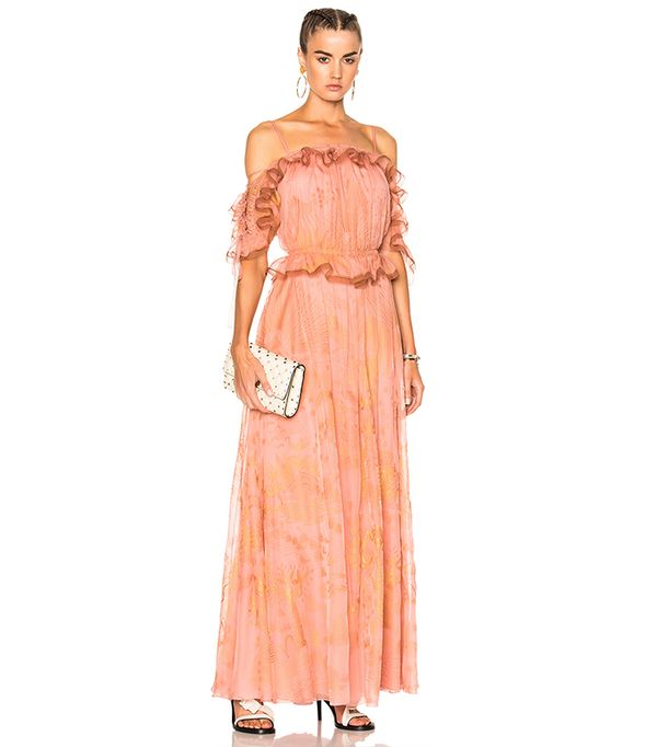 Off the Shoulder Ruffle Sleeve Gown