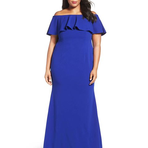 Off-the-Shoulder Crepe Knit Mermaid Gown