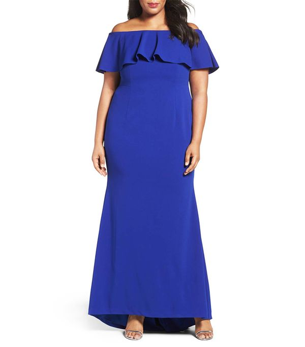 Off The Shoulder Crepe Knit Mermaid Gown