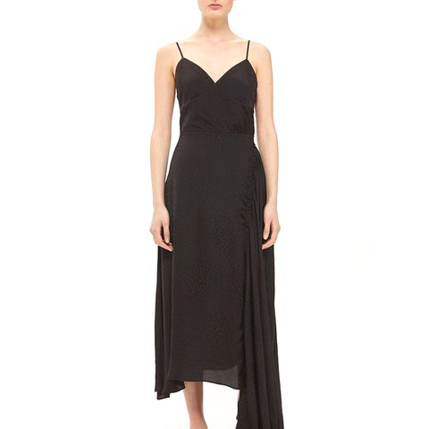 Ruched Jacquard Slip Dress