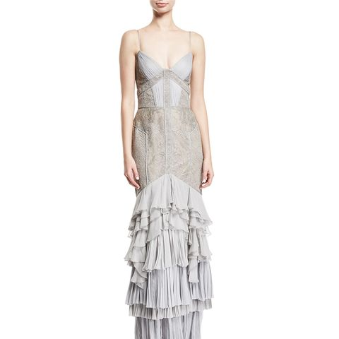 Lace & Chiffon Tiered Gown