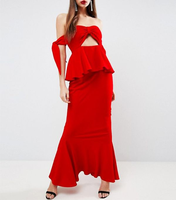Havana Tie Bow Front Maxi Dress