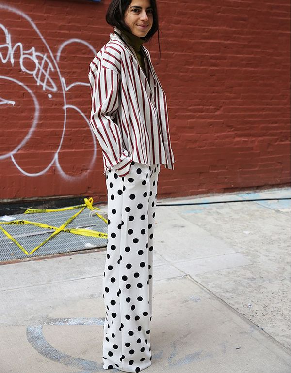Stripes and spots? Why, yes! Man Repeller's Leandra Medine pulls the look off like a pro.