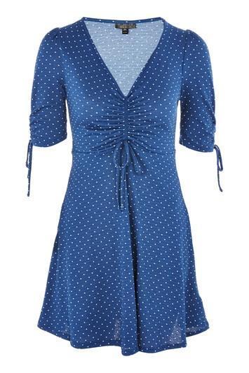 Spot Ruched Tea Dress