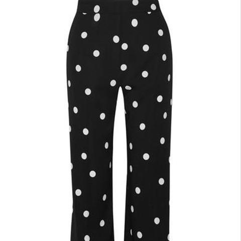 Polka-Dot Silk-Blend Crepe Wide-Leg Pants