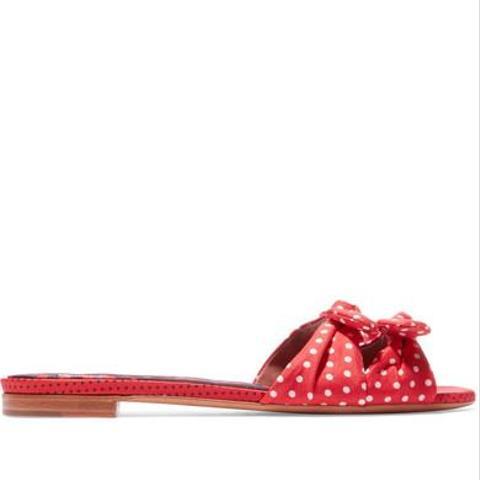 Cleo Bow-Embellished Polka-Dot Twill Slides
