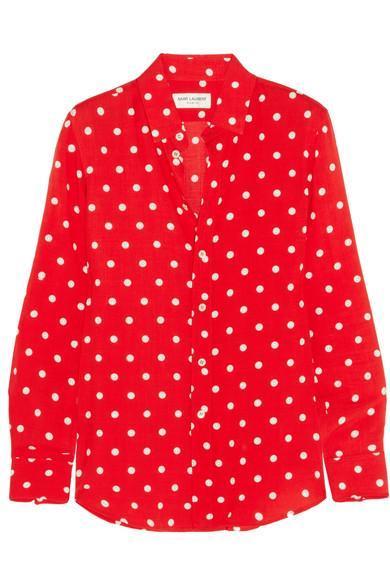 Polka-dot Crepe De Chine Shirt
