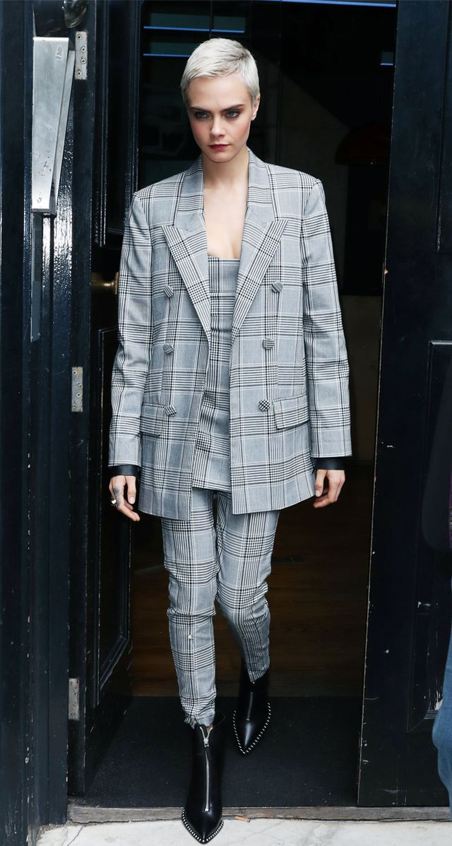 Cara Delevingne checked suit