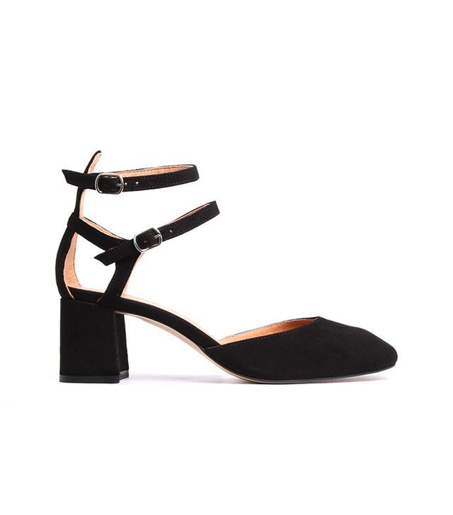 L'Intervalle Rikana Black Suede Ankle Strap Mid-Heel Pumps
