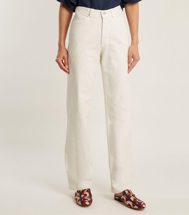 Workwear high-rise straight-leg denim jeans