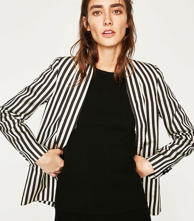 Zara Striped Two-Tone Jacket