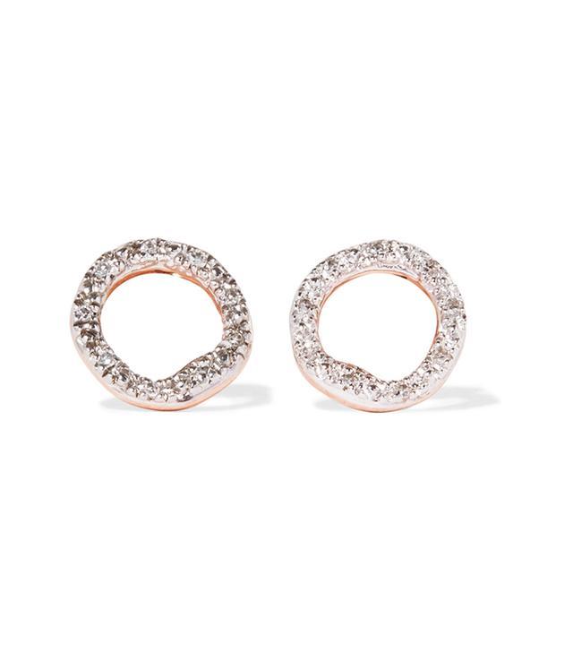 Riva Circle Rose Gold Vermeil Diamond Earrings