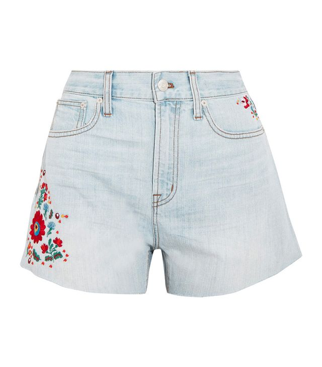 Perfect Embroidered High Waist Denim Shorts