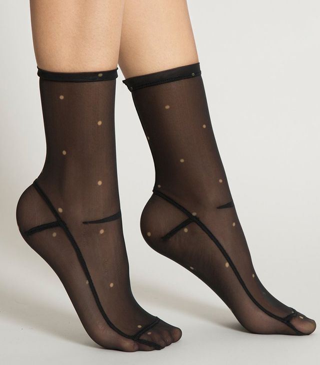 Darner Dots Black Mesh Socks