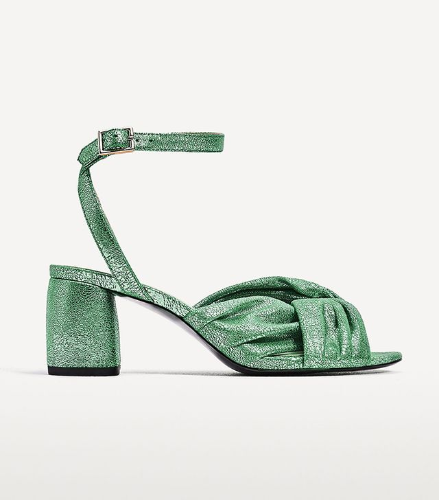 Zara Medium-Heeled Sandal with Knot