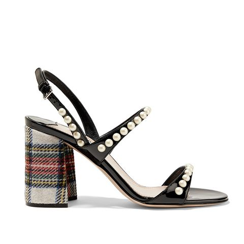 Faux Pearl–Embellished Patent-Leather and Tartan Tweed Sandals