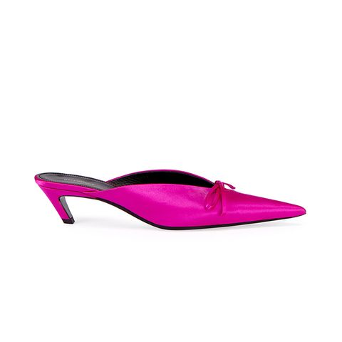Satin Pointed-Toe Slide Mules