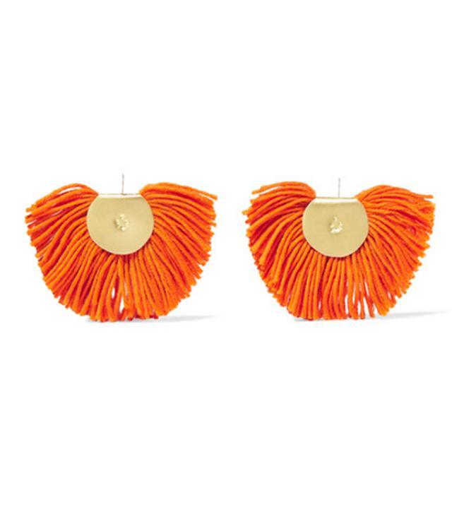 Katerina Makriyianni Fan Gold-Tone Wool-Blend Earrings