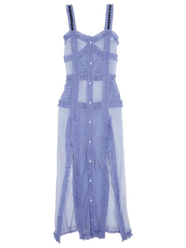 Attico Margarita Ruffled Striped Dress