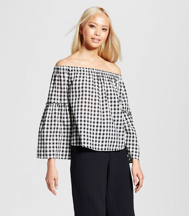 Who What Wear Bardot Bell Sleeve Top