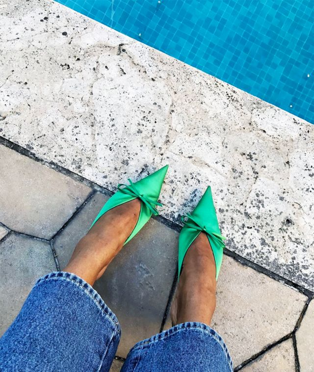 Balenciaga green knife mules: Tamu McPherson