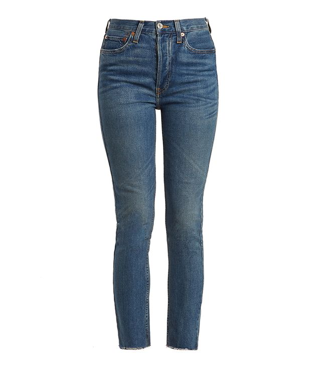 High-rise raw-hem cropped jeans